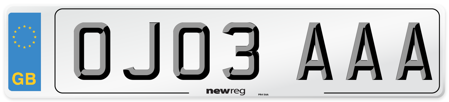 OJ03 AAA Number Plate from New Reg