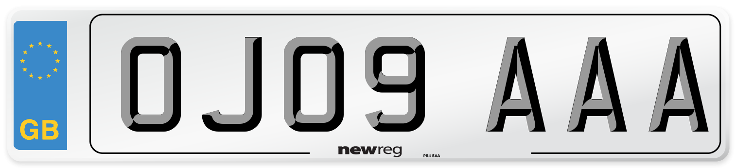 OJ09 AAA Number Plate from New Reg