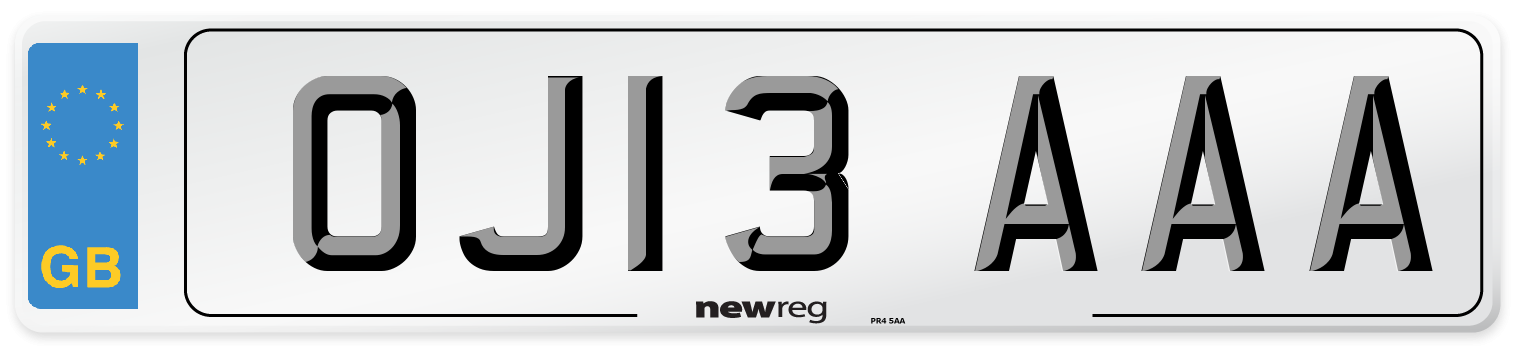 OJ13 AAA Number Plate from New Reg