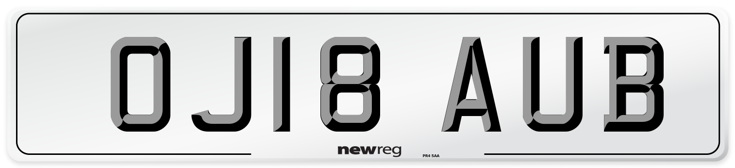 OJ18 AUB Number Plate from New Reg