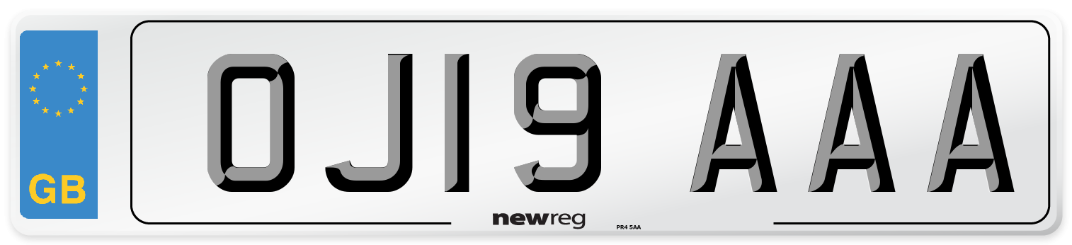 OJ19 AAA Number Plate from New Reg
