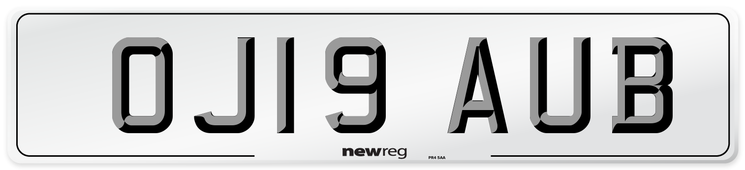 OJ19 AUB Number Plate from New Reg