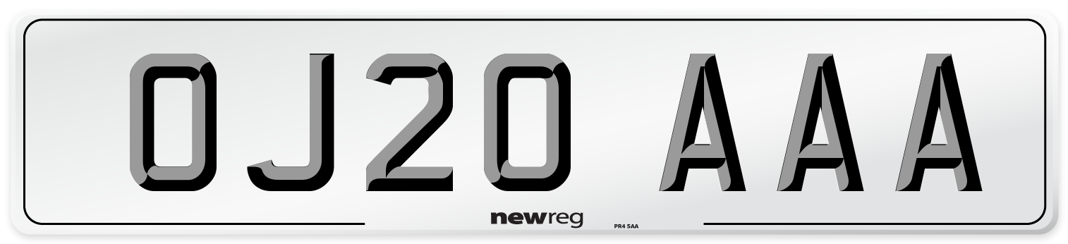 OJ20 AAA Number Plate from New Reg