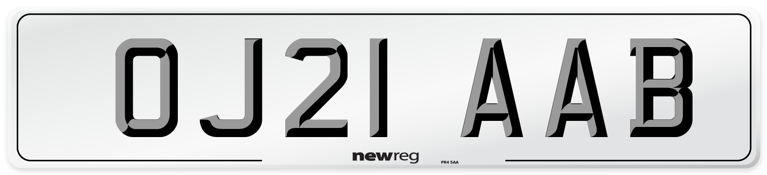 OJ21 AAB Number Plate from New Reg