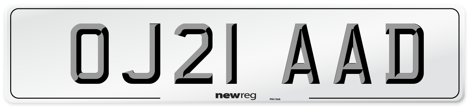 OJ21 AAD Number Plate from New Reg