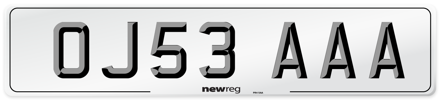 OJ53 AAA Number Plate from New Reg