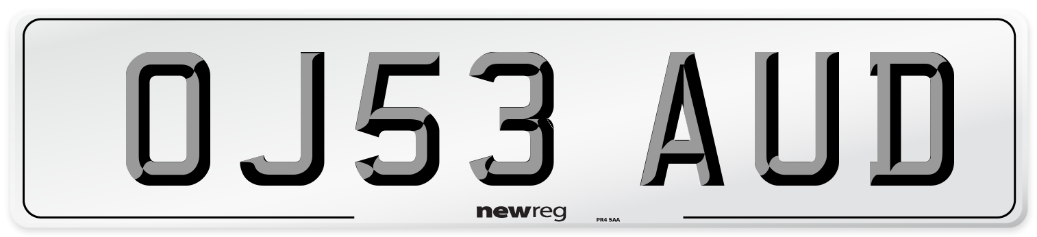 OJ53 AUD Number Plate from New Reg