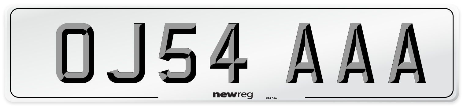 OJ54 AAA Number Plate from New Reg