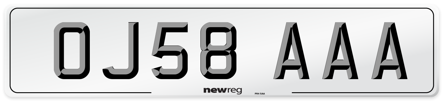 OJ58 AAA Number Plate from New Reg