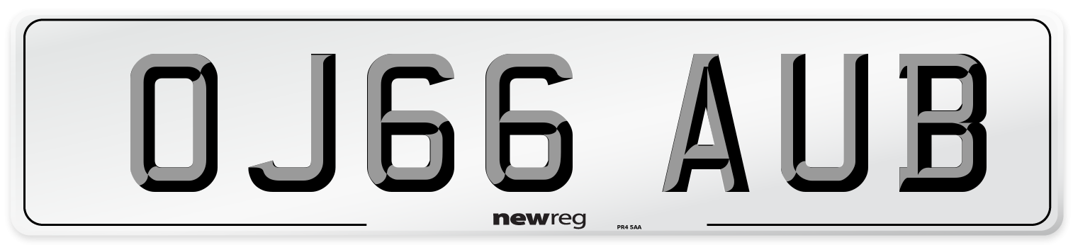 OJ66 AUB Number Plate from New Reg