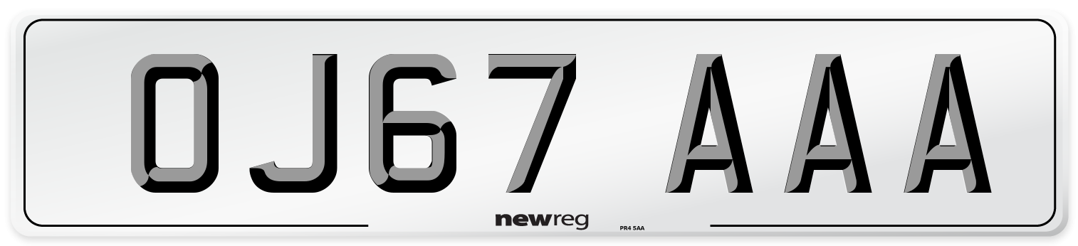OJ67 AAA Number Plate from New Reg