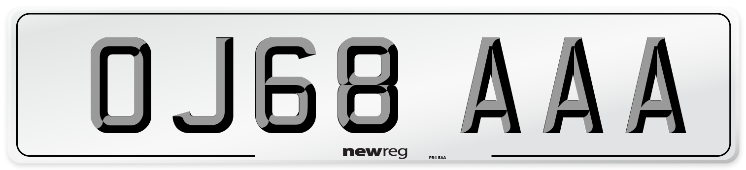 OJ68 AAA Number Plate from New Reg