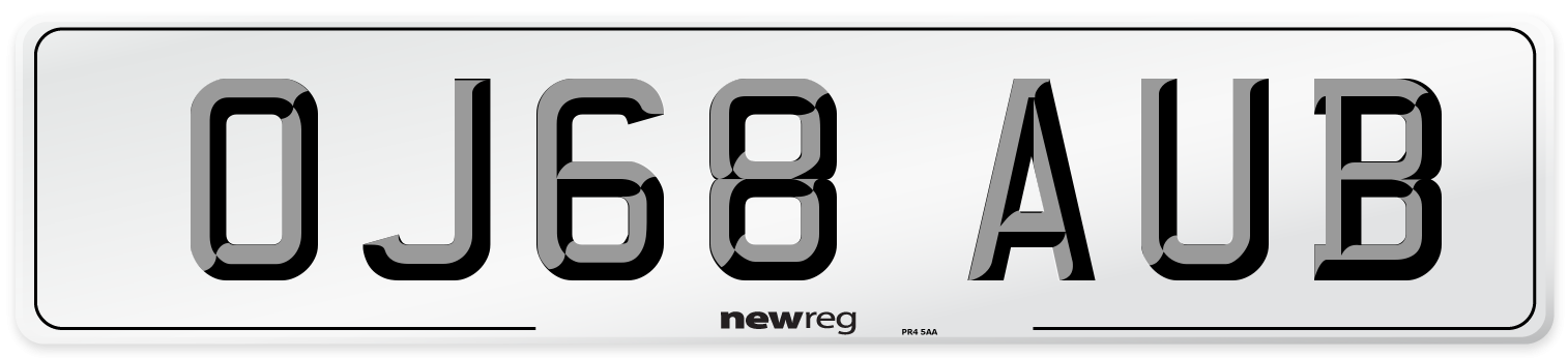 OJ68 AUB Number Plate from New Reg