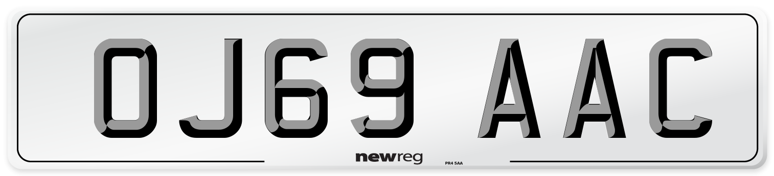 OJ69 AAC Number Plate from New Reg