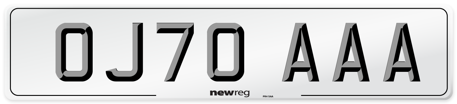 OJ70 AAA Number Plate from New Reg