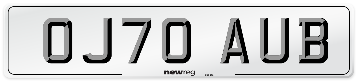 OJ70 AUB Number Plate from New Reg