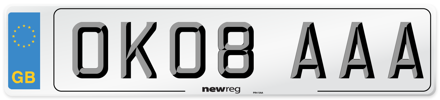 OK08 AAA Number Plate from New Reg