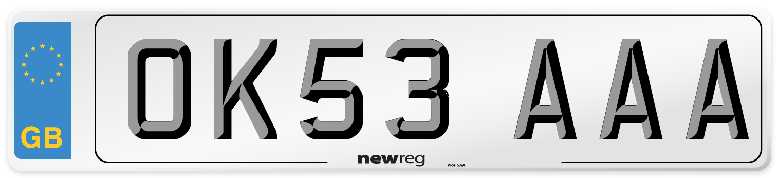 OK53 AAA Number Plate from New Reg