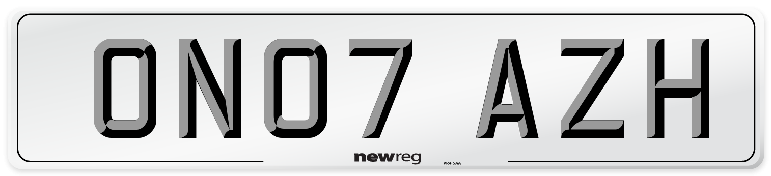 ON07 AZH Number Plate from New Reg