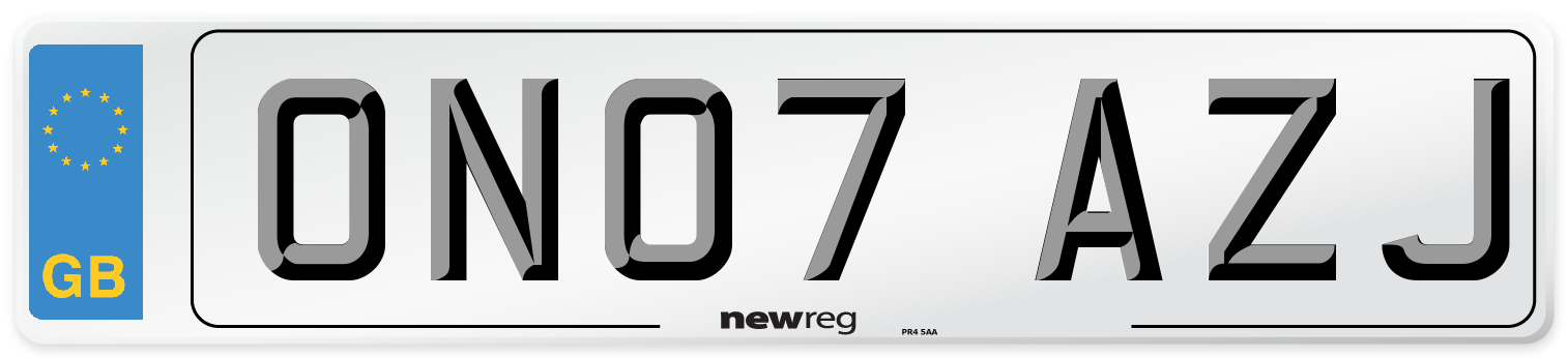 ON07 AZJ Number Plate from New Reg