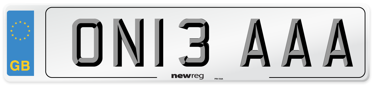 ON13 AAA Number Plate from New Reg