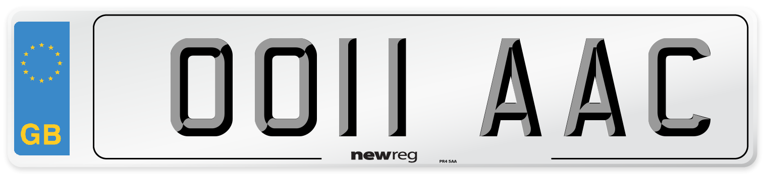 OO11 AAC Number Plate from New Reg