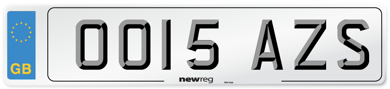 OO15 AZS Number Plate from New Reg