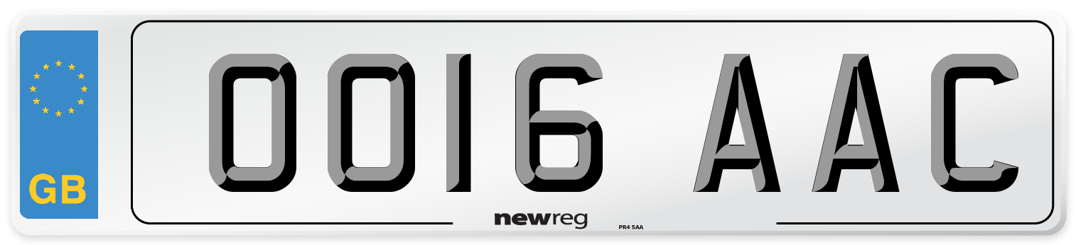 OO16 AAC Number Plate from New Reg