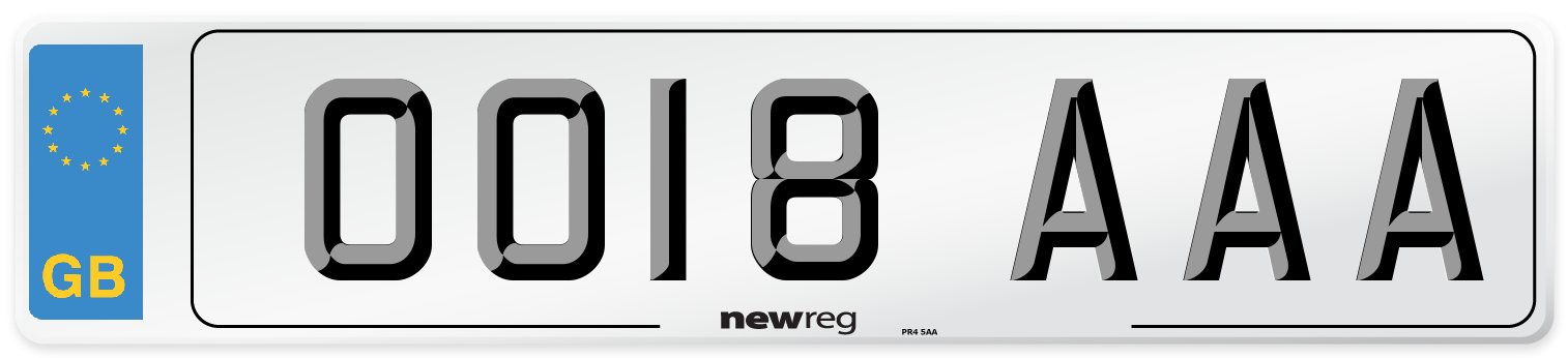 OO18 AAA Number Plate from New Reg