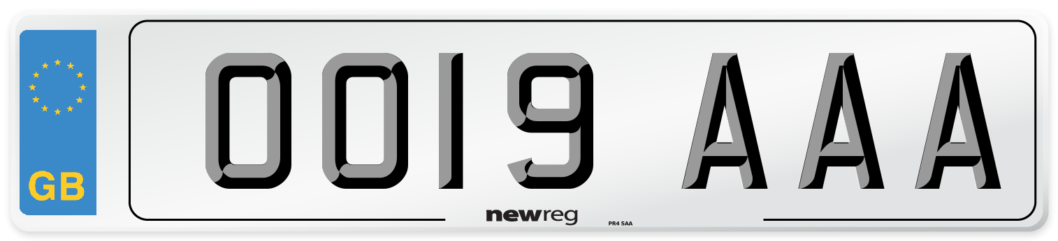 OO19 AAA Number Plate from New Reg