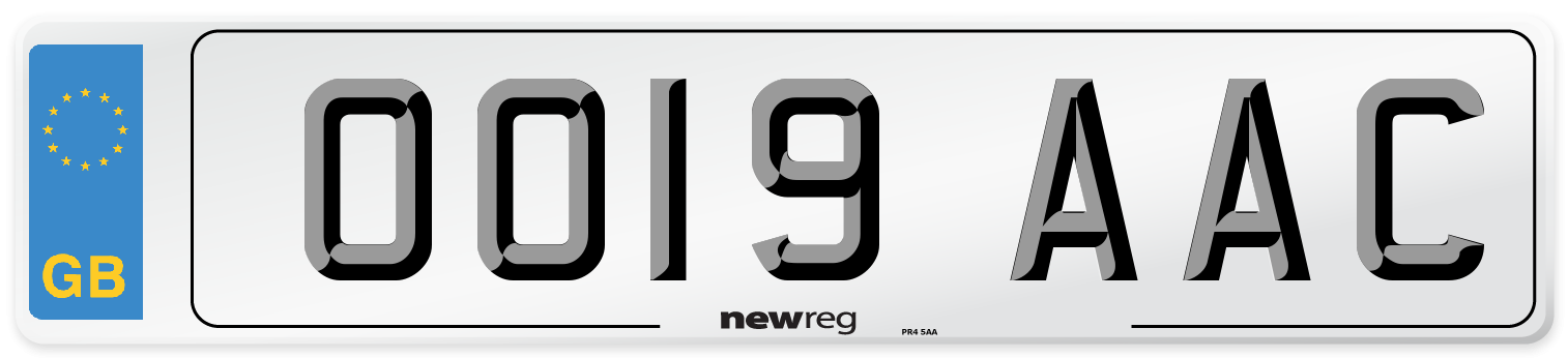 OO19 AAC Number Plate from New Reg