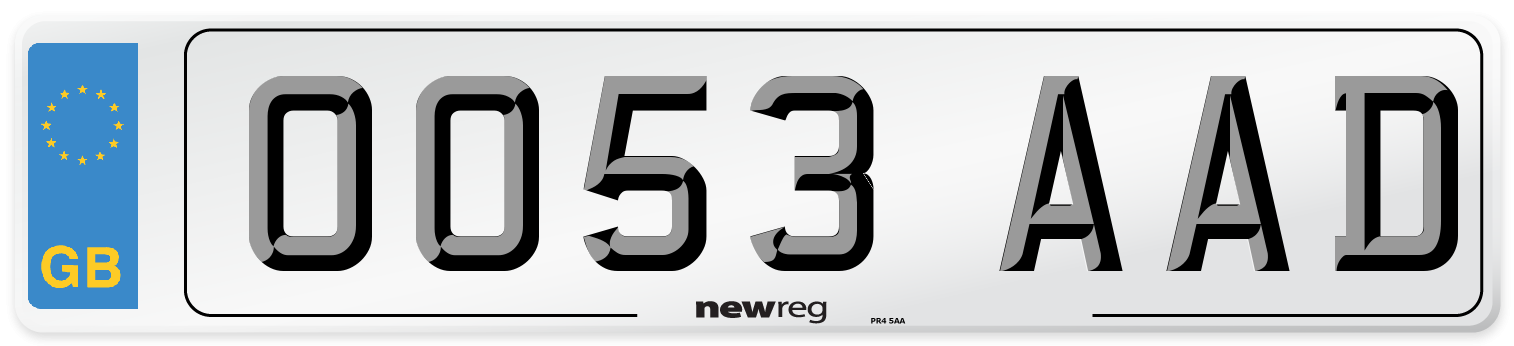 OO53 AAD Number Plate from New Reg