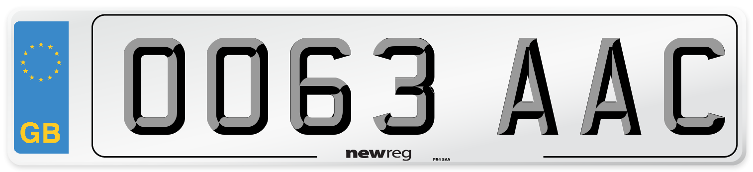OO63 AAC Number Plate from New Reg