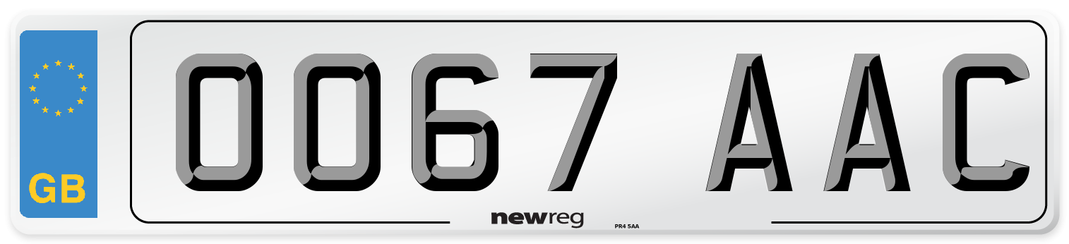 OO67 AAC Number Plate from New Reg