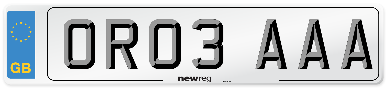 OR03 AAA Number Plate from New Reg