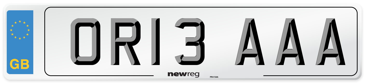 OR13 AAA Number Plate from New Reg