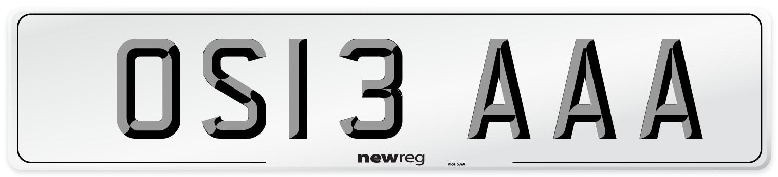 OS13 AAA Number Plate from New Reg