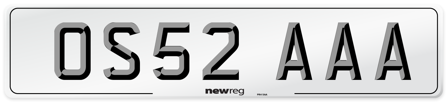 OS52 AAA Number Plate from New Reg