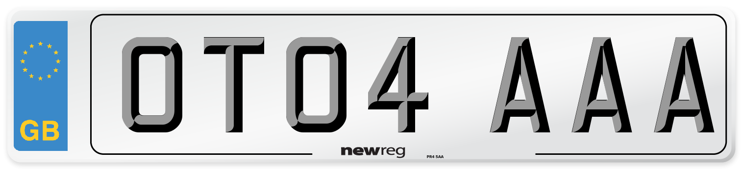 OT04 AAA Number Plate from New Reg