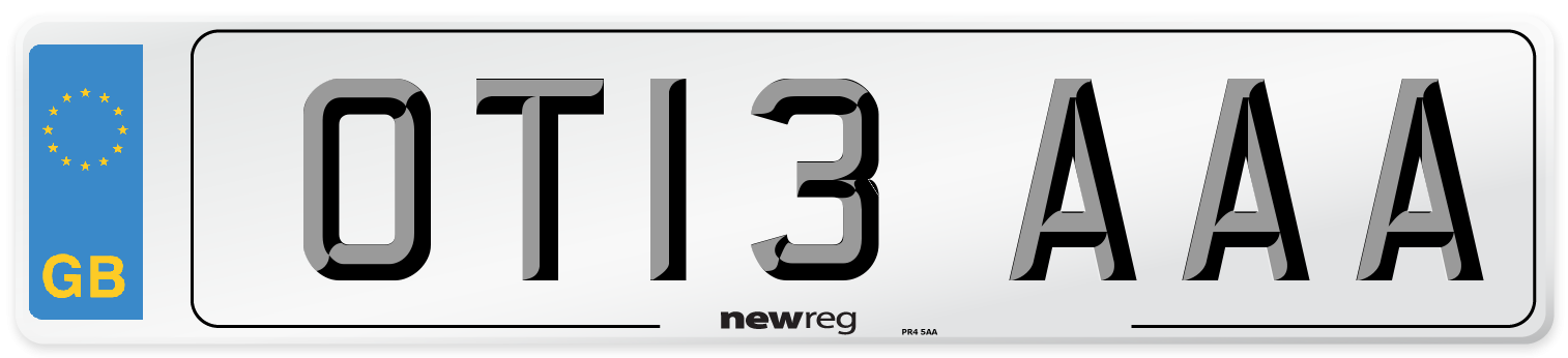 OT13 AAA Number Plate from New Reg