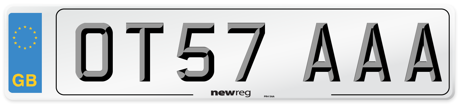OT57 AAA Number Plate from New Reg