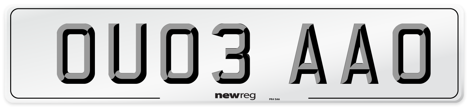 OU03 AAO Number Plate from New Reg