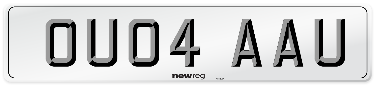 OU04 AAU Number Plate from New Reg