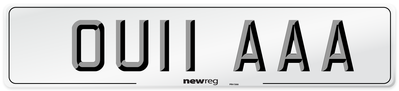 OU11 AAA Number Plate from New Reg