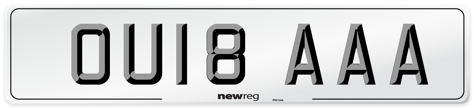 OU18 AAA Number Plate from New Reg