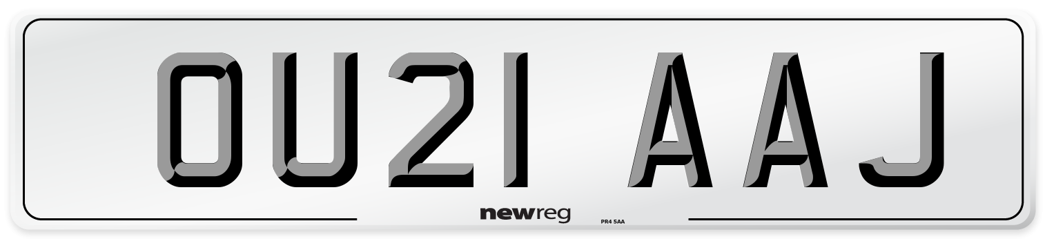 OU21 AAJ Number Plate from New Reg