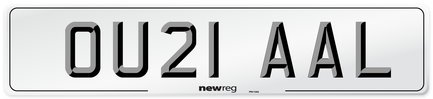 OU21 AAL Number Plate from New Reg