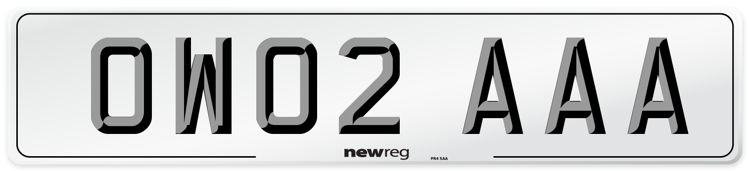 OW02 AAA Number Plate from New Reg