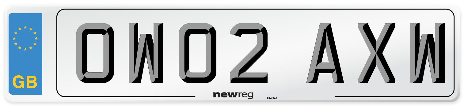 OW02 AXW Number Plate from New Reg