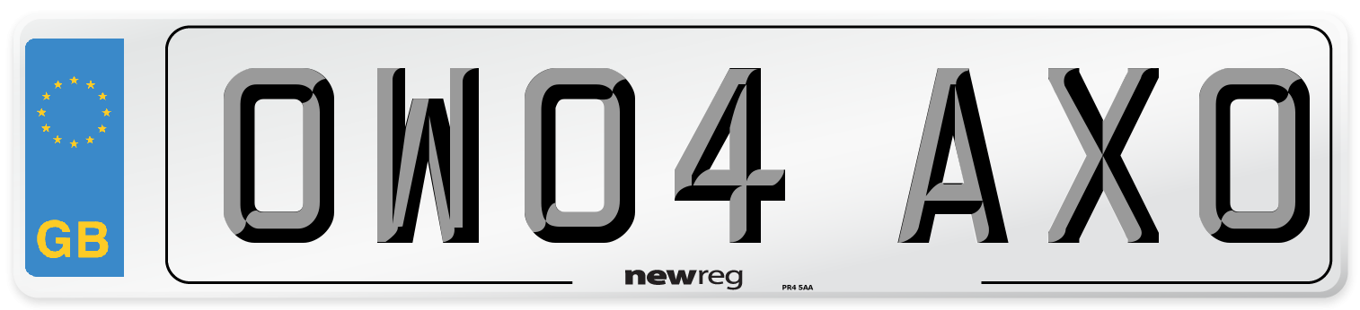 OW04 AXO Number Plate from New Reg